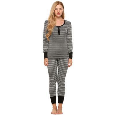 Women Two Piece Thermal Underwear Pajamas Set Long Sleeve Striped Top GDY7 Long Sleeve Striped Pajamas