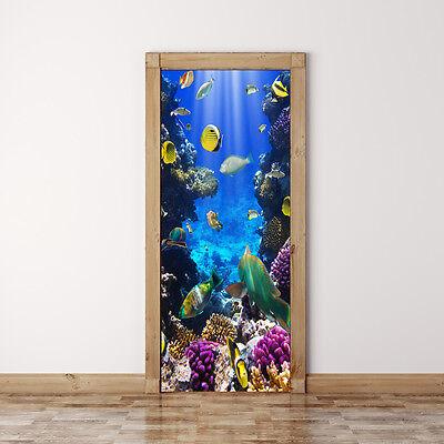 Door Mural Coral fish Underwater - Self Adhesive Fabric Door Wrap Wall Sticker