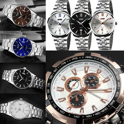 $2.45 - Hot New Luxury Mens Date Analog Quartz Sport Stainless Steel Band Wrist Watches