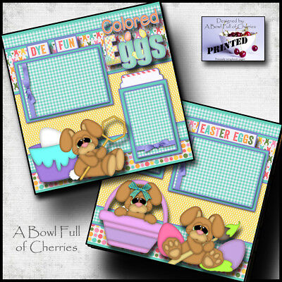 Coloring Pages Easter (COLORING EGGS EASTER ~  2 premade scrapbook pages paper piecing layout  ~)
