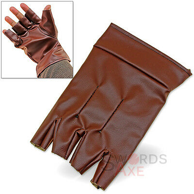 Medieval Single - Steampunk Single Glove Open Finger Left Handed Felt-Lined Pleather Medieval