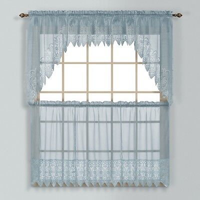 Valerie Macrame Kitchen Curtain   Blue   Tiers  Swags  Valances   New