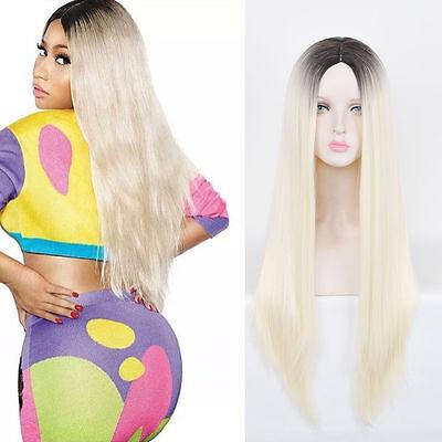 Blonde Nicki Minaj Wig (Nicki Minaj Style Long Central Part Platinum Blonde Ombre black root)