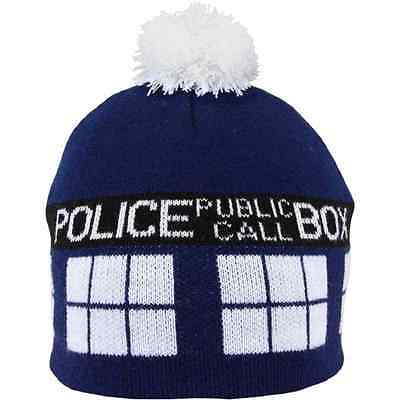 TARDIS Pom Beanie Hat Doctor Who Fancy Dress Halloween Adult Costume - Tardis Fancy Dress