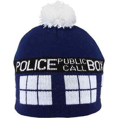 TARDIS Pom Beanie Hat Doctor Who Fancy Dress Halloween Adult Costume Accessory](Tardis Halloween Costume)