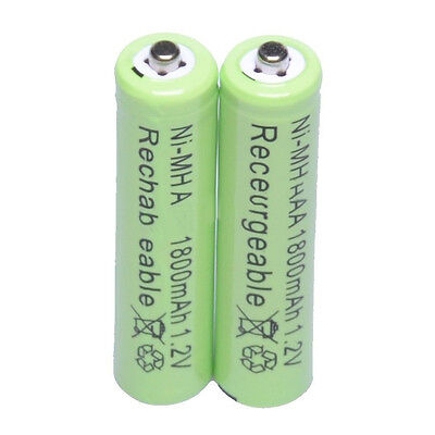 2pcs 1000mah Rechargeable Batteries Ni-MH 1.2V AAA Battery PowerToys Green