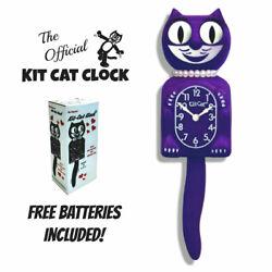 ULTRA VIOLET LADY KIT CAT CLOCK 15.5 Purple Free Battery USA MADE Kit-Cat Klock