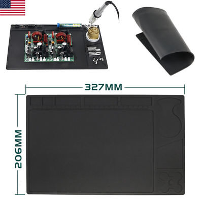 "12.9x8.1"" Heat Insulation Repair Working Pad Soldering Anti Static Mat ESD BLK"