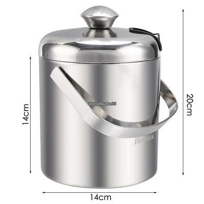 Small Ice Bucket w/ Tongs Best Double Wall Insulated Stainless Steel
