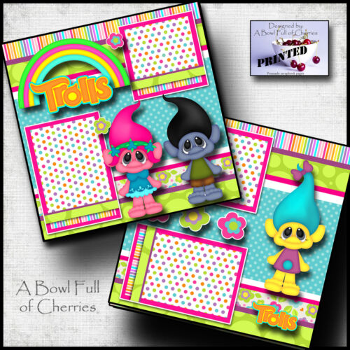 TROLLS ~ 2 premade scrapbook pages paper piecing layout printed BY CHERRY BFOC