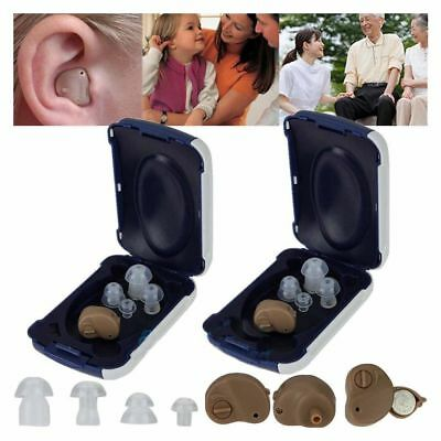 (2) Small In Ear Invisible Best Sound Amplifier Adjustable Tone Hearing Aids
