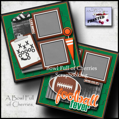 FOOTBALL FEVER ~ super bowl 2 premade scrapbook pages paper printed CHERRY 0134