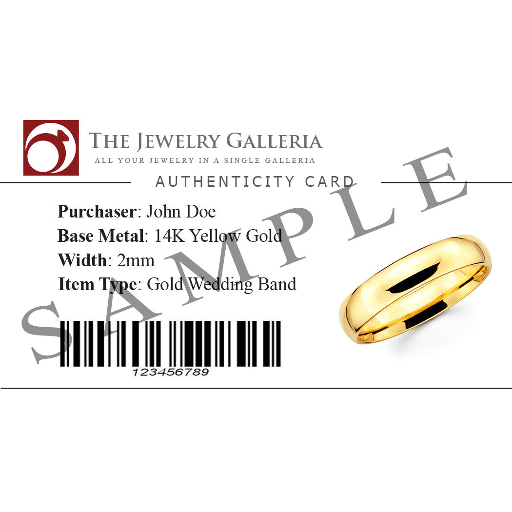 Solid 14K White Gold 2mm 3mm 4mm 5mm 6mm Comfort Fit Men Women Wedding Band Ring 6