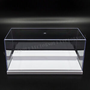 UK Clear Acrylic Display Case Perspex Box 20cm L Plastic White Base Dustproof UV