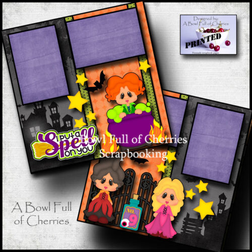 HOCUS POCUS halloween witches 2 premade scrapbook pages paper BFOC CHERRY 0101