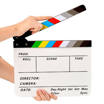 Movie Film TV Slate Clapper Board Dry Erase Clapboard Cut Action Scene Acrylic (Action Clapboard)
