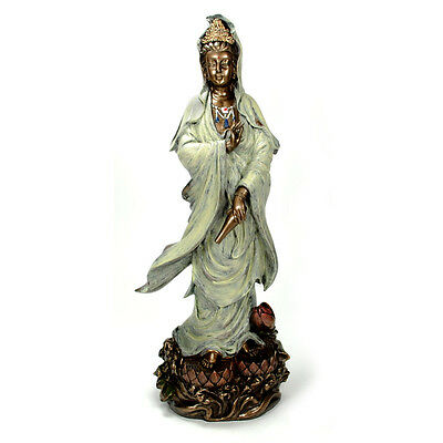 "KWAN YIN LOTUS STATUE 12.5"" Bronze Resin HIGH QUALITY Guan Quan Goddess Buddha"