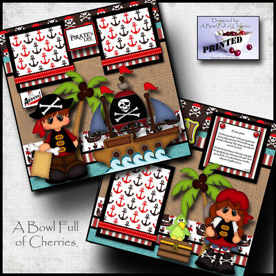 PIRATE ~ boy girl 2 premade scrapbooking pages paper piecing printed ~BY CHERRY