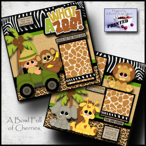 WHAT A ZOO 2 boy premade scrapbook pages paper printed layout 4 album BY CHERRY