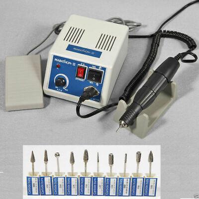 Micromotor Dental Lab Marathon Polishing 35k Rpm High Handpiece 10pc Burs V2z