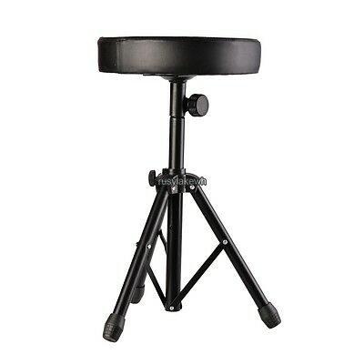 Double Braced Tripod Drum Throne - Foldable Tripod Drum Throne Chair Padded Seat Double-Braced Adjustable Black USA
