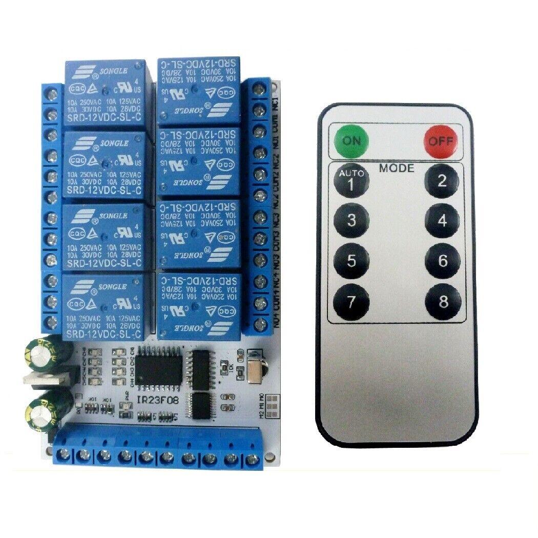 8ch Dc 5v 12vvs1838 Ir Infrared Control Delay Relay Module Flip Flop Latch Ebay