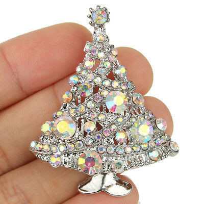 - Christmas Tree Brooch Pin Clear AB Austrian Crystal Women Party Gift