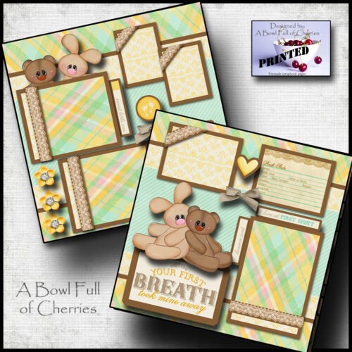 BABY BOY OR GIRL ~ PRINTED 2 premade scrapbook pages paper piecing layout CHERRY