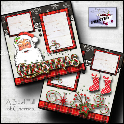 SANTA ~ VINTAGE ~ CHRISTMAS 2 premade scrapbook pages paper printed CHERRY #0124