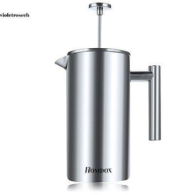 TOP Kaffeebereiter Pressfilterkanne Doppelwandig thermoisoliert 1L Kaffeekanne