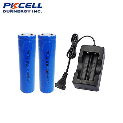 2 18650 Li-ion Rechargeable Vape Battery 3.7V 2200mAh Flat Top + Charger PKCELL