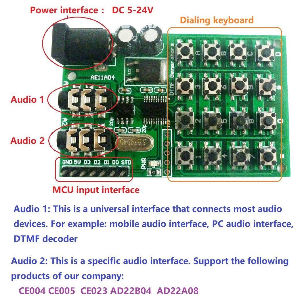 Keypad DTMF Generator Module Audio Encoder Transmitter Board