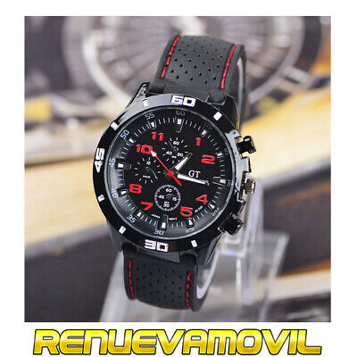 Reloj De Pulsera Deportivo Negro Rojo Para Hombre Caballero GT Grand Touring...