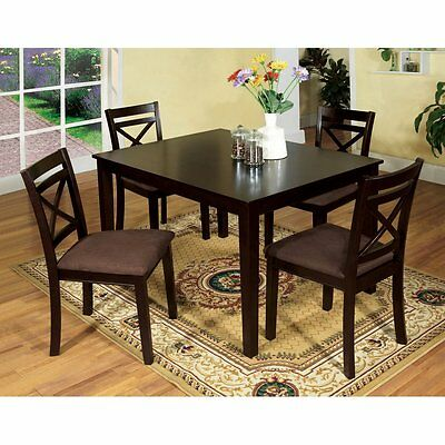 Modern Dining Room 5pc Dining Set Table Espresso Chairs Microfiber Seat  Chair
