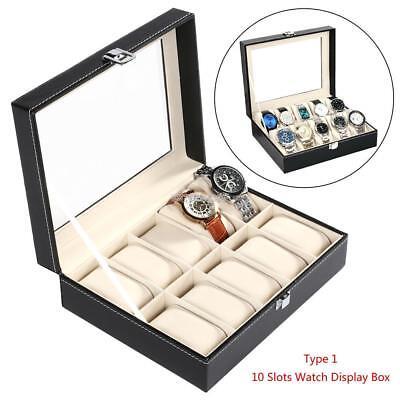 10 Slot Watch Box Display Case Organizer Cushion Storage Box Wristwatch Bracelet