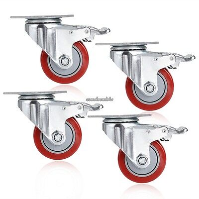 4 Pack 3 Inch Caster Wheels Swivel Plate With Break On Polyurethane Us Ship