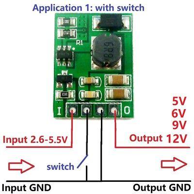 Onoff Dc-dc Step-up Boost Voltage Converter Module 3v 3.3v 3.7v To 5v 6v 9v 12v