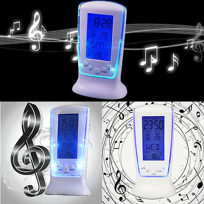 LCD Display Digital Alarm Clocks Light Backlight W/music Thermometer Calendar