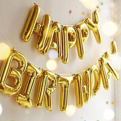 Happy Birthday Ballon-banner (gold Happy Birthday Luftballon Banner Wimpel selbstdichtend Party Dekoration)