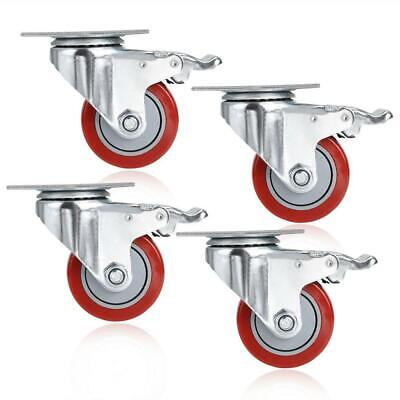 4 Pack Heavy Duty 3 Caster Pvc Wheels With Brake Swivel Top Plate Shopping Cart