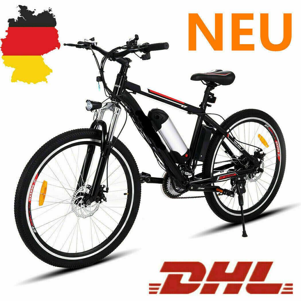 Elektrofahrrad 26 Zoll eBike Mountainbike Citybike 35km/h Bergfahrrad 21-Gang DE