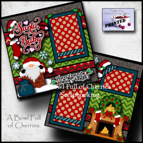 SANTA BABY Christmas 2 premade scrapbook pages paper piecing printed CHERRY 0121