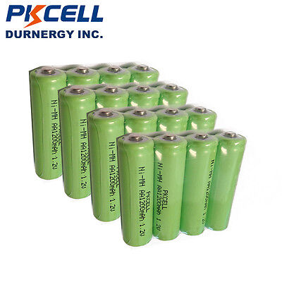 20pcs 1200mAh 1.2V AA Ni-MH Rechargeable Battery PKCELL Button Top