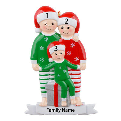 Pajama Family Personalized Christmas Ornament for Family of 3 - Personalized (Personalized Christmas Pajamas)