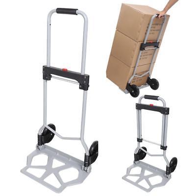 Portable Folding Hand Truck Dolly Luggage Carts Silver 220 Lbs Effu 0298b
