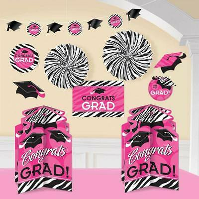 Zebra Party Pink Congrats Grad Graduation Theme Party Wall Room Decorating Kit](Pink Themed Party Decorations)