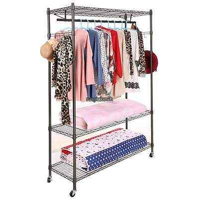 Heavy Duty Commercial Clothing Garment Roll Collapsible Rack Hanger Single-rod