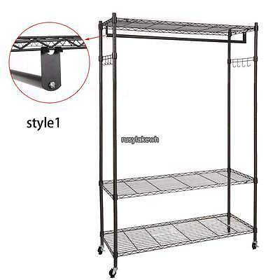 Single Rod Clothing Garment Rack Heavy Duty 3 Shelving Closet Blackgraysilvery