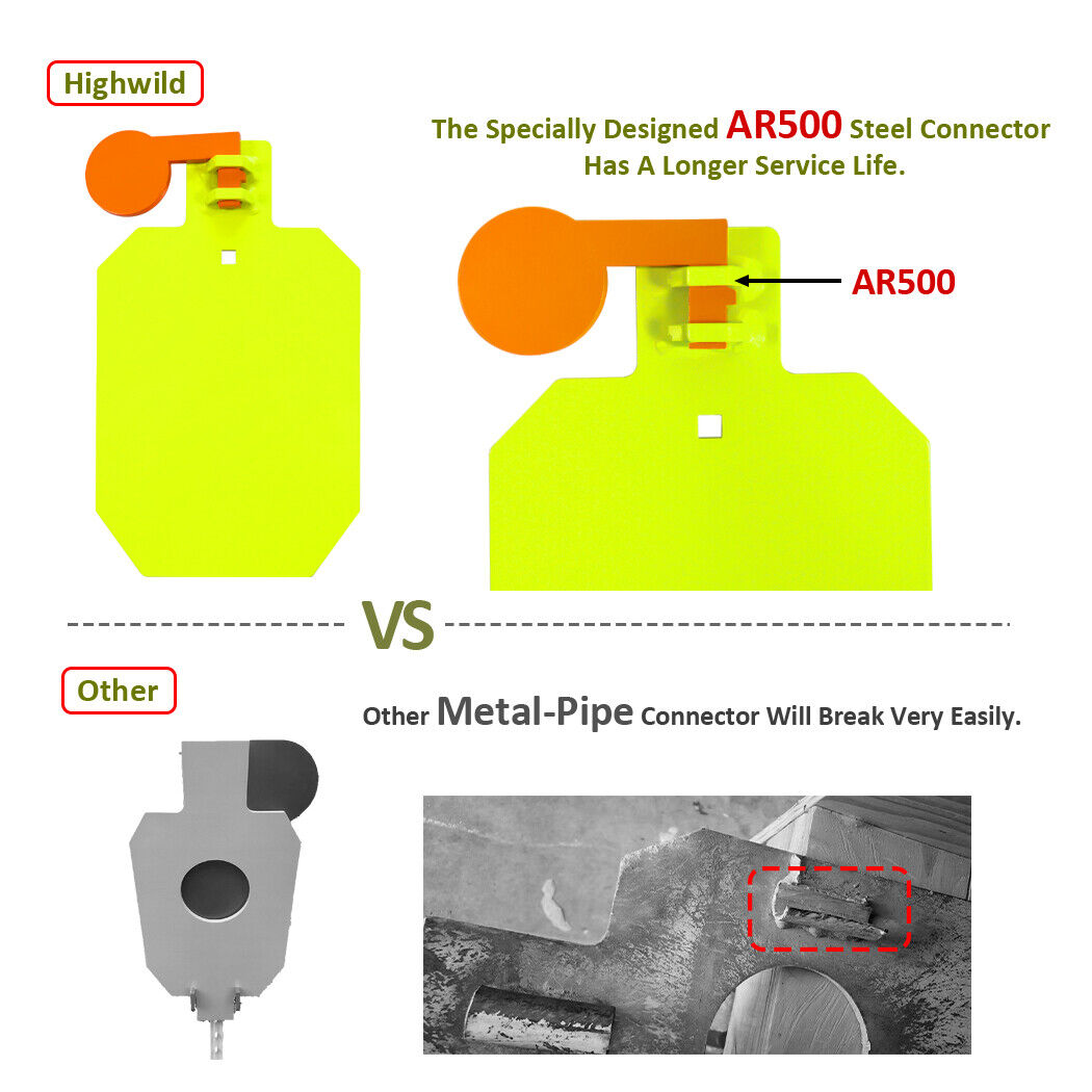"Highwild AR500 Steel Hostage Target 12/"" x 20/"" x 3//8/"" Armored Reactive IDPA Neon"