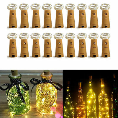 Cork Shaped 20 LED Night Light Starry Lights Wine Bottle Lamp With Battery Lot